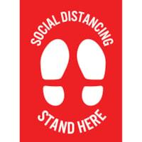 Autocollant de distanciation sociale pour tapis Sterling, anglais, Stand Here, blanc sur fond rouge, 12 po x 18 po