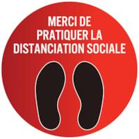 Autocollant circulaire de distanciation sociale pour tapis Sterling, français, Merci de pratiquer la distanciation sociale, noir et blanc sur fond rouge, 12 po