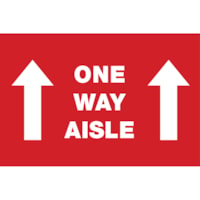 Autocollant de sol de distanciation sociale Sterling, anglais, One Way Aisle avec flèches, blanc sur fond rouge, 12 po x 18 po