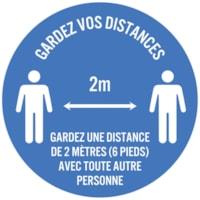 Autocollant circulaire de distanciation sociale pour tapis Sterling, français, Gardez vos distances - Gardez une distance de 2 mètres (6 pieds) avec toute autre personne, blanc sur fond bleu, 12 po