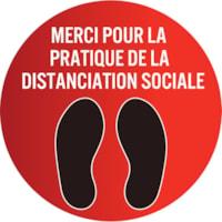 Autocollant de sol de distanciation sociale Sterling, français, Merci pour la pratique de la distanciation sociale, noir et blanc sur fond rouge, 12 po
