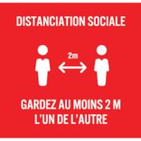 Extensions pour porte-nom de distanciation sociale Sterling, français, Distanciation Sociale, blanc sur fond rouge, 2 3/4 po x 2 3/4 po , emb. de 10