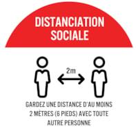 Autocollant de sol de distanciation sociale Sterling, français, Distanciation sociale - Gardez au moins 2 mètres (6 pieds) l'un de l'autre, noir et blanc sur fond rouge et blanc, 12 po
