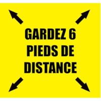 Extensions pour porte-nom de distanciation sociale Sterling, français, Gardez 6 pieds de distance, noir sur fond jaune, 2 3/4 po x 2 3/4 po , emb. de 10