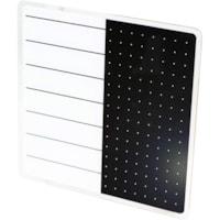 Tableau magnétique effaçable à sec en verre Glacier Viztex, planificateur et notes, blanc et noir, 14po x 14po