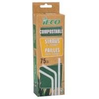 Pailles flexibles iECO, blanc, emb. de 75