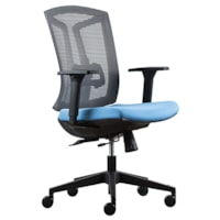 HDL Echo Mid-Back Task Chair, Blue Fabric Seat/Grey Mesh Back