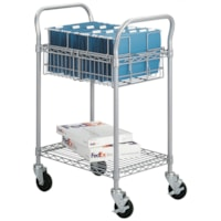 Safco Wire Mailroom Cart, Silver, 26 3/4