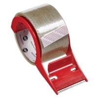 Ruban d'emballage Grand & Toy avec dévidoir, transparent et rouge