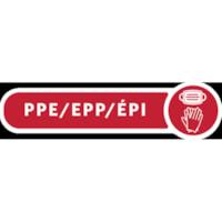 Étiquette de mise au rebut de l'ÉPI pour poubelle décorative en métal Rubbermaid Commercial, bilingue, rouge et blanc