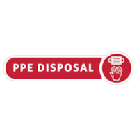 Rubbermaid Commercial Metal Decorative Refuse PPE Label, English, Red/White