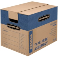 Bankers Box SmoothMove Prime Moving Boxes, Tape-Free and Fast-Fold Assembly, Small, 12