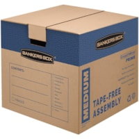 Bankers Box SmoothMove Prime Moving Boxes, Tape-Free and Fast-Fold Assembly, Medium, 16