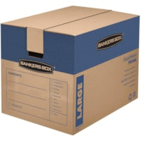Bankers Box SmoothMove Prime Moving Boxes, Tape-Free and Fast-Fold Assembly, Large, 18
