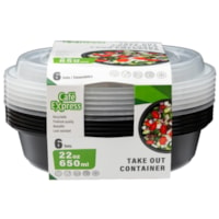 Café Express Round Take Out Containers, Black with Clear Lids, 650 mL Capacity, 6/PK