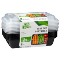Café Express Rectangular Take Out Containers, Black with Clear Lids, 475 mL Capacity, 8/PK