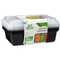 Café Express Rectangular Take Out Containers, Black with Clear Lids, 1,250 mL Capacity, 5/PK