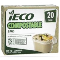 Sacs à ordures compostables 7,5 l iECO, beige, emb. de 20