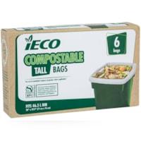 Sacs à ordures compostables 46,l l iECO, beige, emb. de 6