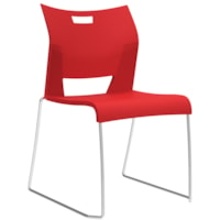 Global Duet Armless Stacking Chair, Scarlet Red