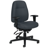 Offices To Go Full-Time Mid-Back Multi-Tilter Ergonomic Chair, Charcoal Grey Quilt Fabric Seat and Back