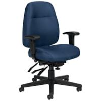 Fauteuil ergonomique à inclinaisons multiples Full-Time Offices To Go, dossier moyen, assise et dossier en tissu piqué marine