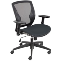 Offices To Go Stradic Mid-Back Tilter Chair, Charcoal Grey Quilt Fabric Seat and Mesh Back