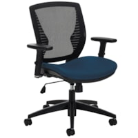 Offices To Go Stradic Mid-Back Tilter Chair, Navy Blue Quilt Fabric Seat and Mesh Back