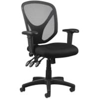 Realspace MFTC 200 Multifunction Ergonomic Mid-Back Task Chair, Black Mesh/Fabric Seat