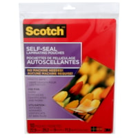 Scotch Self-Seal Laminating Pouches, Clear, 10/PK