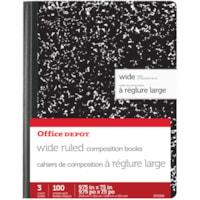 Cahier de composition à réglure large Office Depot, noir, 7 1/2 po x 9 3/4 po, emb. de 3