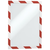 Durable Duraframe Security/Safety Sign Holder, Red/White, Letter Size, 2/PK
