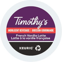 Timothy's® Single-Serve Coffee K-Cup Pods, French Vanilla Latte, Box of 24