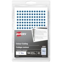Avery Non-Printable Removable Colour-Coding Labels, Blue, 1/4