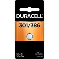 Duracell 301/386 Silver Oxide Watch Battery SIZE 301 1.5V 1/PACK CUST SPECIFIC