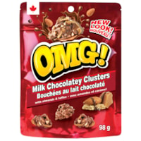 Bouchées au chocolat au lait OMG!, sachets de 98 g, caisse de 12