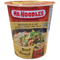 Mr. Noodles Instant Noodles in a Cup, Beef Flavour, 64 g, 12/CT