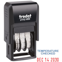 Trodat 4850 Covid-19 English Date Stamp, Temperature Checked
