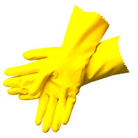 Ronco Light-Fit Latex Reusable Gloves, Flockedlined, Large, Yellow, 12/PK