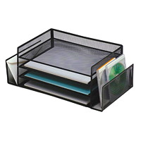Grand & Toy Black Mesh 6-Section Desk Sorter