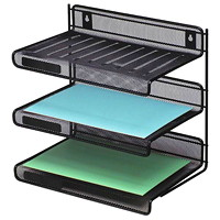 Grand & Toy Black Mesh 3-Tier Letter-Size Desk Shelf