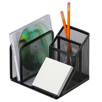 Grand & Toy  Black Mesh 5-Section Desk Organizer