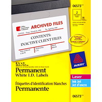 Avery 6573 Permanent ID Labels, White, 8 1/8