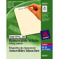 Étiquettes de classement amovibles blanches pour imprimantes laser/jet d'encre Avery