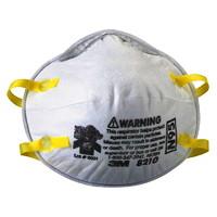 3M 8210 N95 Disposable Particulate Respirator, Non Valve, White, 20/BX