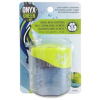 Onyx + Green Double Metal Manual Pencil Sharpener