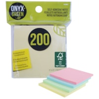 Onyx + Green Self-Adhesive Notes, Assorted Pastels, 3