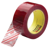 Scotch 3779 Security Message Box Sealing Tape, Pre-Printed with Check Seal Before Accepting, Clear with Red Type, 48 mm x 100 m