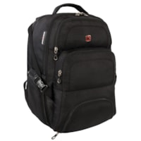 SwissGear Tablet and Laptop Backpack with Charger Pocket, Black, Fits Laptops up to 17.3