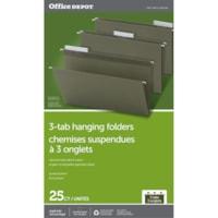 Dossiers suspendus à trois onglets Office Depot, vert standard, onglets 1/3, boîte de 25